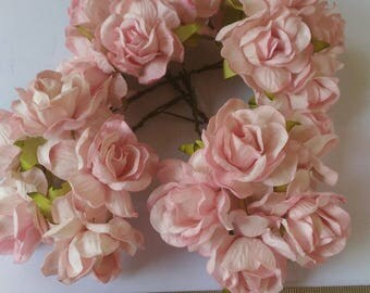 20 Light Pink  Lovely Jumbo Mulberry Roses Paper  Flowers  Size  1.8inch/45 mm  Bulk Wholesale Price