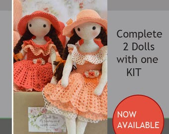 Crochet Kit, Tween crochet dolls KIT, Complete two dolls with one KIT