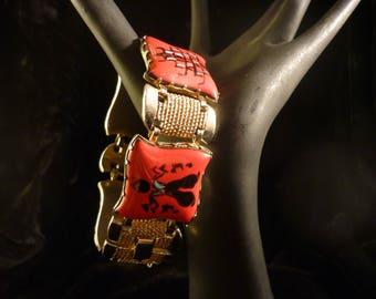 Lovely Asian Inspired Red Four Paneled Bracelet