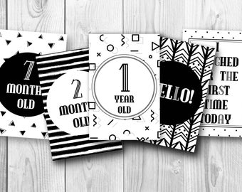 Baby Milestone Cards - Printable for New Baby, Photo Prop Monochrome Geometric Design Weekly Monthly Birthday Photo Baby Shower Gift
