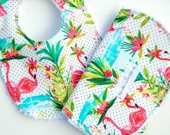 Bib and Burp Cloth Set - Flamingo