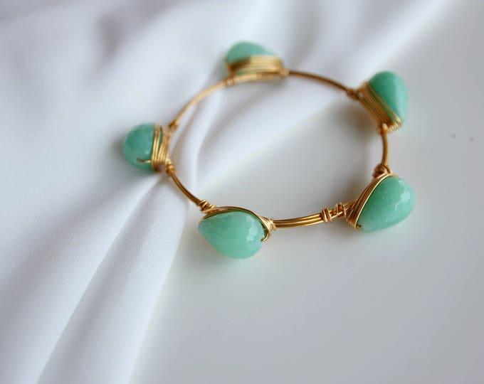 Mint gemstone bangle stacking bracelet