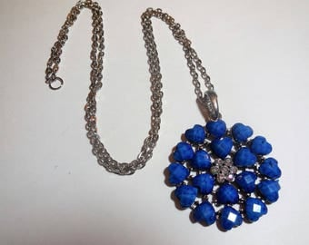 Chain Necklace Blue Pendant Vintage Costume Jewelry Women's Fashion Accessories Casual Style