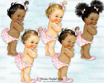 Princess Ruffle Pants Light Pink  Vintage Baby Girl   3 Skin Tones Afro Puffs   Clipart Instant Download
