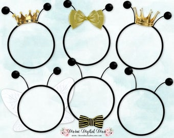 Bumble Bee Frames Crowns Bow Bow Tie Antennae Wings   Clipart Instant Download
