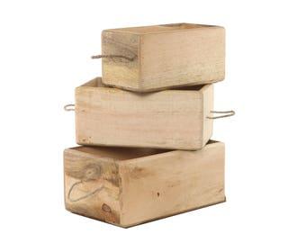Solid Wood, Storage crate, bin, box - 3 PC Combo