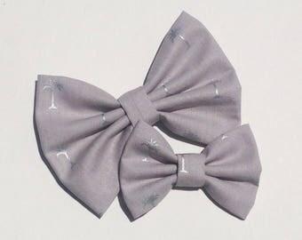 Silver Palm Tree Handmade Fabric Hair Clip or Headband Bows