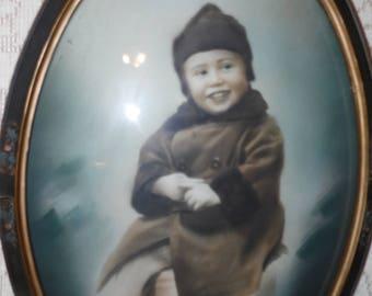 Antique Victorian Child Boy Portrait Picture Ornate Floral Wood Carved Frame Convex Glass