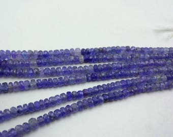 16-inch Natural Tanzanite shaded faceted rondelle beads size 4-7.5mm 95cts GW5085