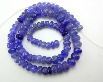 16-inch Natural Tanzanite shaded faceted rondelle beads size 6-9mm 162cts GW5083