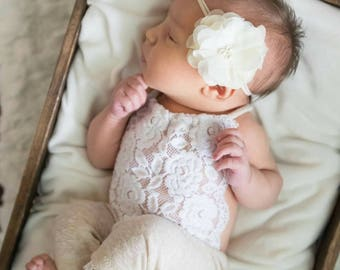 Newborn girl photo outfit romper and tieback set neutral props romper cream white props lace girl outfit newborn photography prop RTS