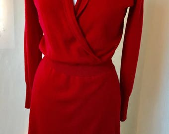 Red cashmere dress