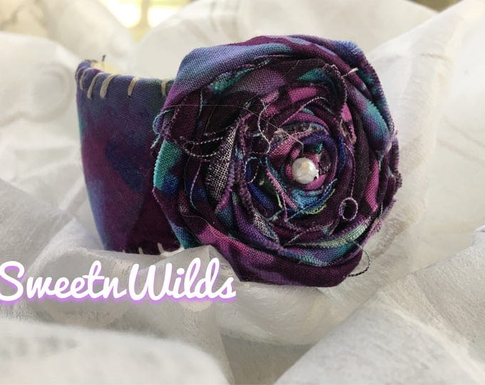 Shabby Chic- Baseball Cuff Bracelet-Leather Jewelry-Purple Rose-READY TO SHIP-Rolled Flower