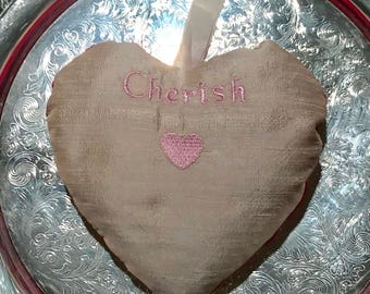 "Lavender & Rose Heart Sachet~Dupioni Silk Embroidered ""Cherish"" and heart"