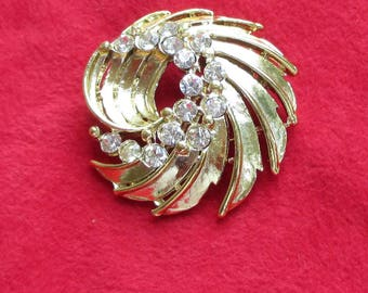 Vintage Rhinestone Spiral Metal Brooch