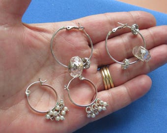 Lot Of Retro Beaded Hoop Pierced  Earrings Rhinestone Rondelle Faux Pearls One Missing Rondelle