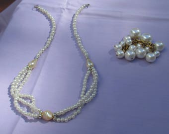Retro White Faux Pearl Necklace Plus Beaded Dangle Cluster TLC