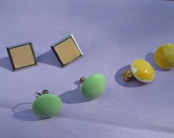 Lot Of Vintage Yellow Peach  Green Clip On Screw Back Earrings TLC