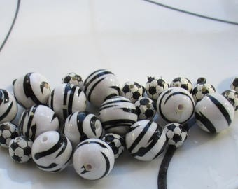 Lot Of Salvaged Black & White Striped Plastic Beads Plus Soccer Ball Plastic Beads
