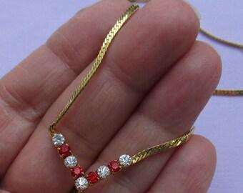Vintage Red & Clear Rhinestone V Shaped Herringbone Chain Necklace
