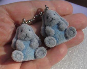 Retro Flocked Easter Bunny Blue Grey Dangling Pierced Earrings