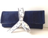 Navy Blue Cork Vegan Leather Travel Jewelry Roll Monogramming Available