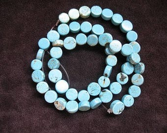 Natural Himalayan Turquoise Bead Strand 8mm, Natural Turquoise Beads, Flat disc Shaped Turquoise beads