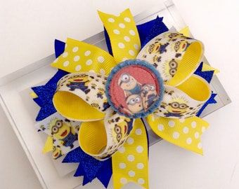 Minion Boutique Hair Bow. Birthday Bow
