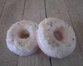 Scented Candle -Wax Tarts- Handmade Candle -  2 Donuts Shape Candle Melts - Confetti SprinklesWith WhiteFrosting Candle Melts -2oz