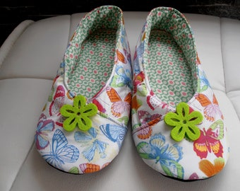 "KIMONO woman printed T38 ""butterflies"" white SLIPPERS"