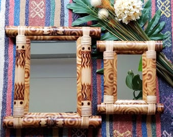 Pair of bamboo mirrors. Bohemian decor. Boho home. Natural. Hippie style. Jungalow. New Bohemian. Eclectic.