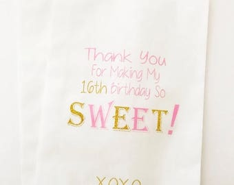 ON SALE Candy Buffet Bags, Sweet 16 Party, Birthday Bags