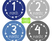 Boy Milestone Stickers - Blue and Grey Baby Stickers - Arrow Milestone Stickers - Baby Boy Stickers - Baby Boy Monthly Stickers - 060