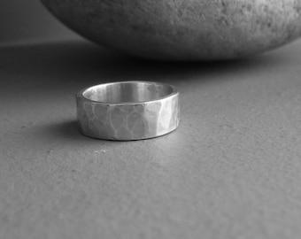 Men 60 sterling silver hammered ring