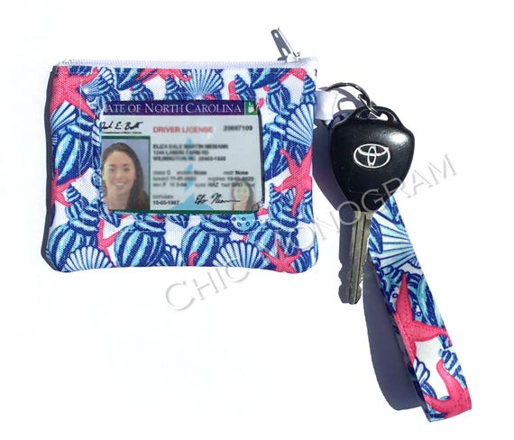 Key Fob Wristlet ID Wallet Lilly Inspired Monogram Key Chain Key Fob Coin Purse Key Chain Zipper Wallet Personalized Custom Designed Lily