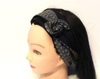Bandeau cheveux rigide femme graphique noir et blanc