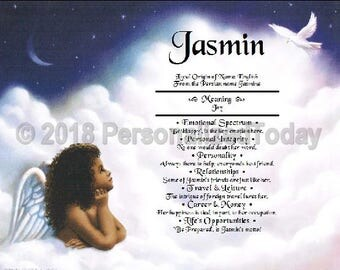 Angel Name Meaning Origin Print Name Personalized Certificate 8.5 x 11 Inches Customized With Any Name