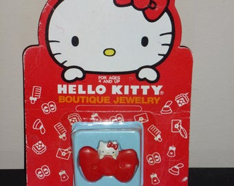 Vintage Sanrio 1976, 1984 Hello Kitty Boutique Jewelry Red Bow