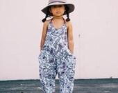 Halter romper - Girls summer romper - Knit Romper - Boho Baby Clothes - Floral Romper - Pockets