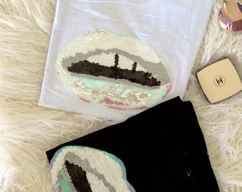 Lips Sequin design white cotton T-shirt Tee design fashion inspired