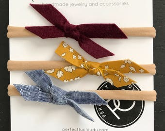 MUTED FALL mini bow set || pigtail bows - baby bows - girl hair clip - bows with clip -bow set - little girl headbands - felt bow - bow ali
