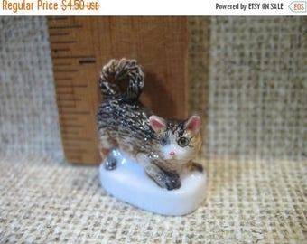 SALE Pouncing KITTEN Cat Kitty -  French Feve Feves Porcelain Figurine Doll House Miniature E44