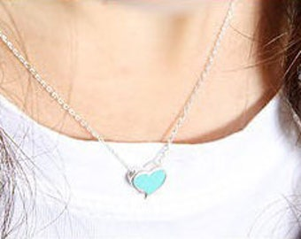 Color Heart Necklace, Painted Heart Necklace, Bridesmaid Gifts, Gift for Girls, UK Seller, For Mom, Affordable, UK Store