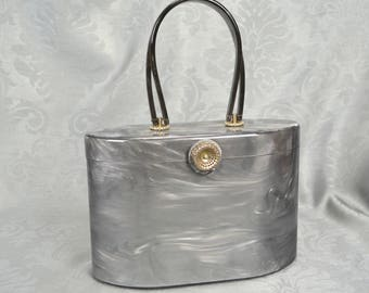 Wilardy Lucite Handbag - Marbleized Pearl Grey with Silver Accents