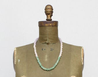 30s Polished Stone Bead Necklace - Vintage 1930s Lavender and Green Beaded Twist Necklace