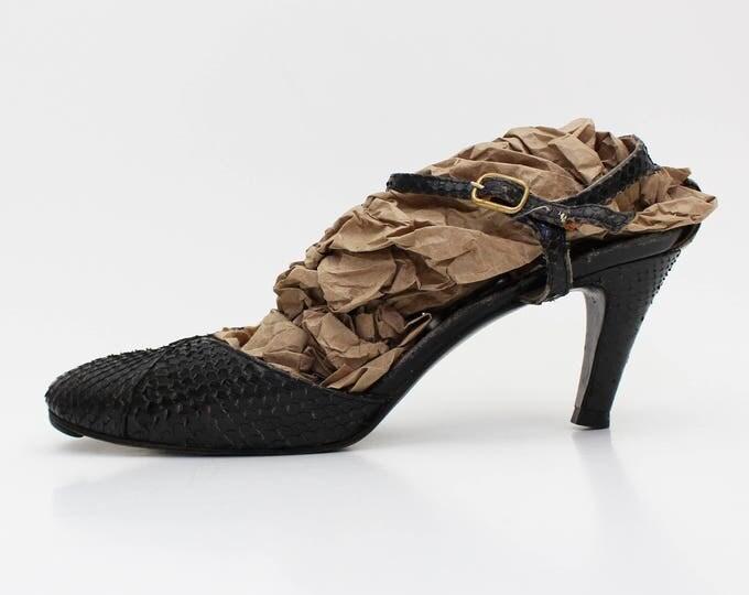 Black Snakeskin Mary Jane Pumps - 40s Size 6 Reptile Skin Black High Heel Shoes - Vintage 1940s Black Mary Janes