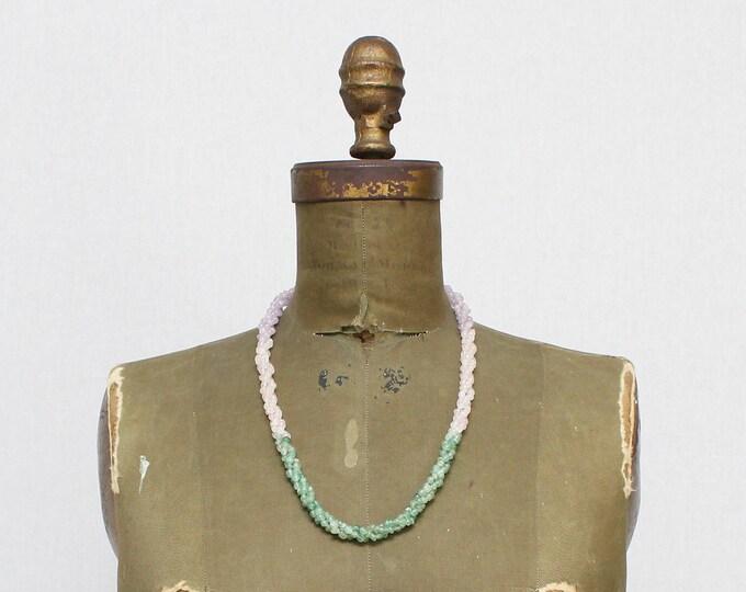 Vintage 1930s Polished Stone Beaded Twist Necklace