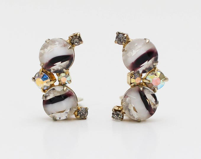 Vintage 60s Juliana Art Glass and Rhinestone Clip On Earrings