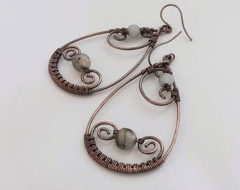 Long drops agate earrings, Unique copper wire wrapped earrings