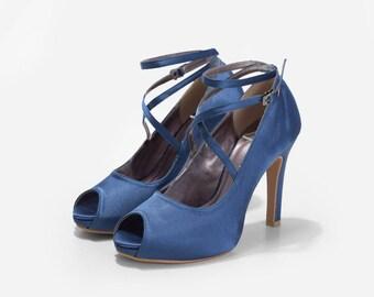 Vania Midnight Blue Satin Platform Pumps, Satin Platform Wedding Heels, Satin and Strap Bridal Heels, Satin Peep Toe Pumps